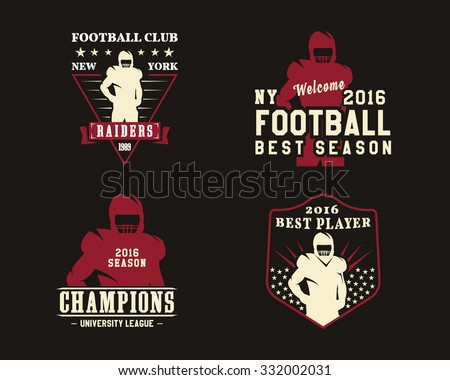 American football player, team badges, championship logos, labels, insignias in retro color style. Graphic vintage design for t-shirt, web. Colorful print isolated on a dark background. Vector. - stock vector