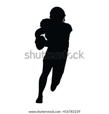 American football player, vector isolated silhouette. Running football player - stock vector