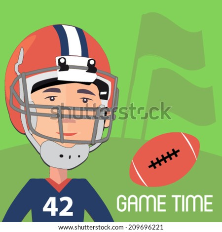 american football player with a ball - flat design vector  - stock vector