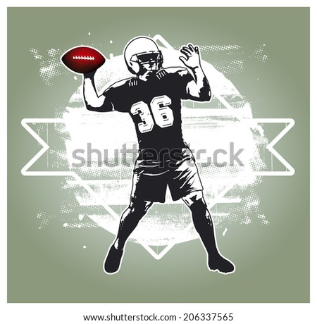 american football player with grunge white shield