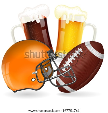 American Football Poster with Helmet, Ball and Glasses of Beer, vector isolated on white background - stock vector