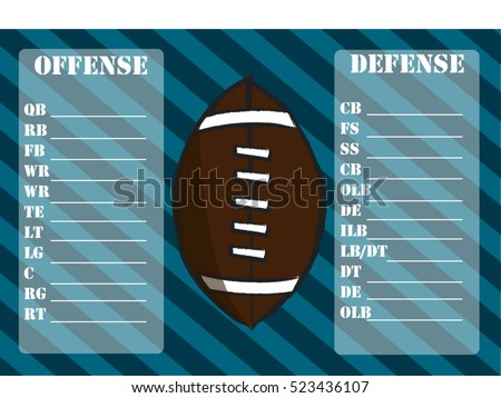American Football Roster Depth Chart Suitable Stock Vector HD ...