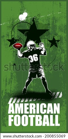 american football scene with player - stock vector