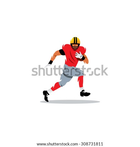 American football sign. A player running with the ball. Vector Illustration. Branding Identity Corporate logo design template Isolated on a white background - stock vector