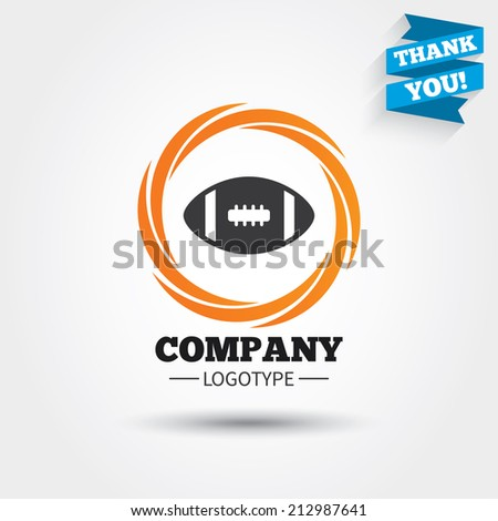 American football sign icon. Team sport game symbol. Business abstract circle logo. Logotype with Thank you ribbon. Vector - stock vector