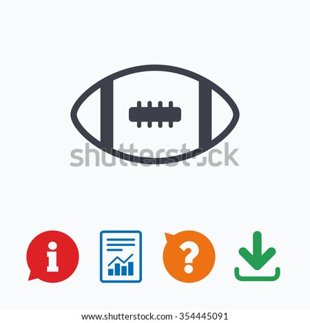 American football sign icon. Team sport game symbol. Information think bubble, question mark, download and report. - stock vector