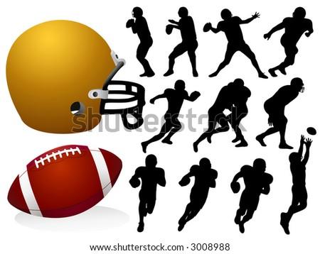 American Football Silhouettes - Vector - stock vector