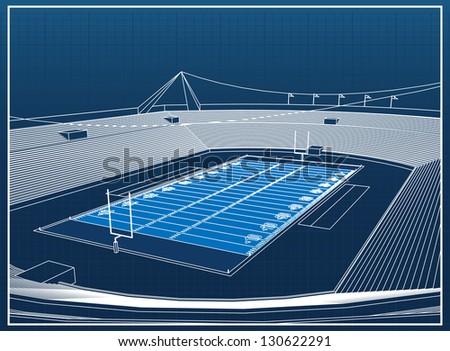 American Football Stadium - stock vector