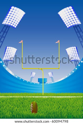 American football  stadium with detailed grass and goalpost. Vector illustration. - stock vector