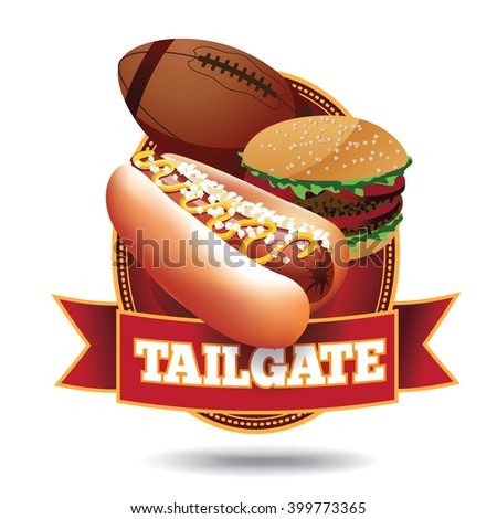 American football tailgate party icon with ribbon. EPS 10 vector.