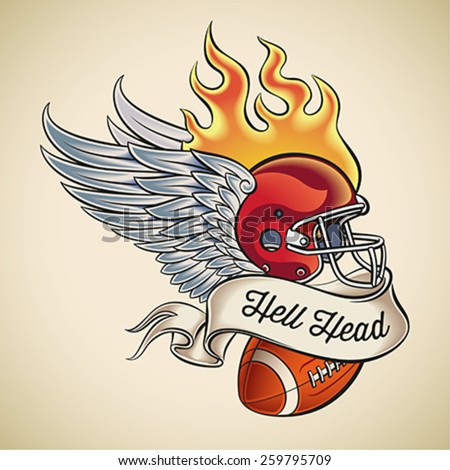 American football tattoo design of a flaming helmet with wings and a leather ball wrapped with banner. Editable vector illustration. - stock vector