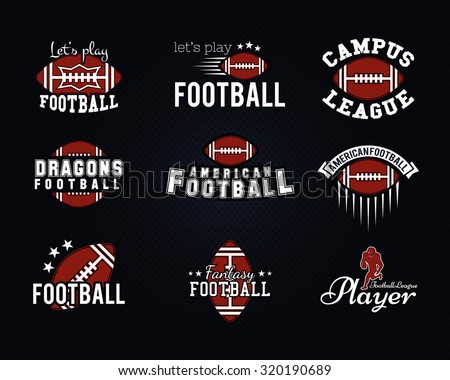American football team, college badges, logos, labels, insignias, icons in retro style. Graphic vintage design for t-shirt, web. Color emblems isolated on a dark dotted halftone background. Vector. - stock vector