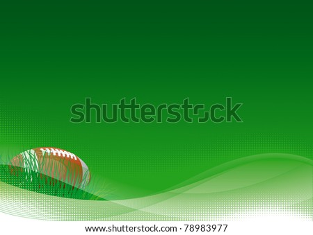 American football. Vector background of American football ball with green grass. - stock vector