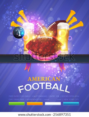 American Football Vector Design, Sport Elements. Poster, Flyer, Cover, Announcement Template - stock vector