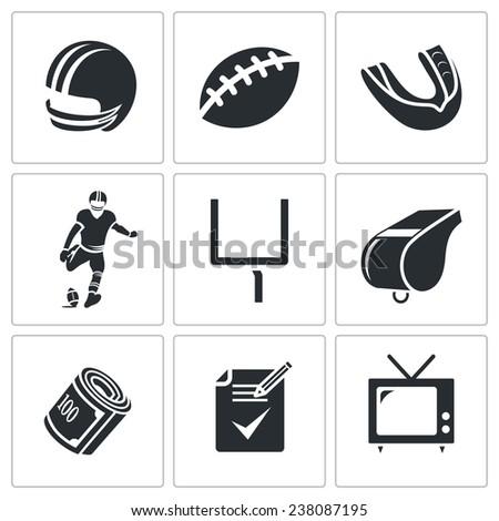 American football Vector Icons Set - stock vector