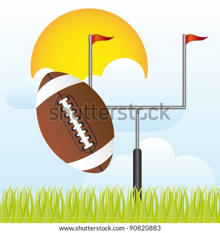 american football with goal post vector illustration. landscape - stock vector