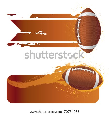 american football with grunge banner - stock vector