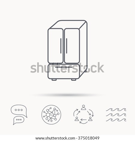 American fridge icon. Refrigerator sign. Global connect network, ocean wave and chat dialog icons. Teamwork symbol. - stock vector
