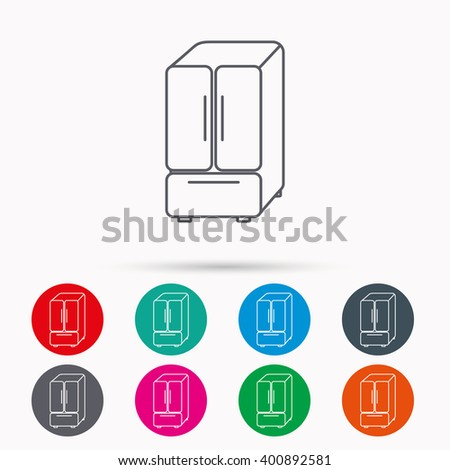American fridge icon. Refrigerator sign. Linear icons in circles on white background. - stock vector