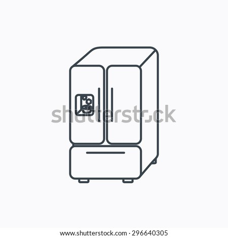 American fridge icon. Refrigerator with ice sign. Linear outline icon on white background. Vector - stock vector