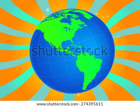 American Globe with Inspirational Background - Vectos - stock vector