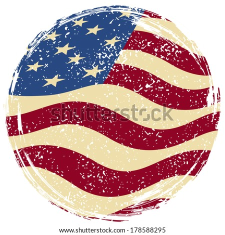 American grunge flag. Grunge effect can be cleaned easily. - stock vector