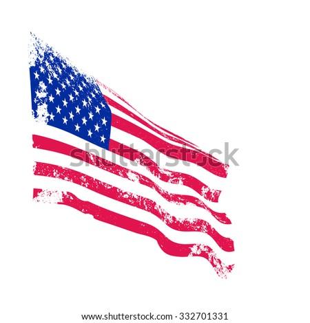 American grunge flag waving. Vector. - stock vector