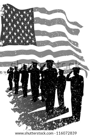 American grunge flag with silhouettes of soldiers saluting. - stock vector