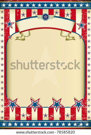 American grunge frame with ribbon. A traditional vintage american poster for you - stock vector