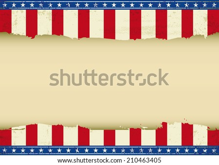 American horizontal background. An horizontal american poster with a empty space for your message. Perfect size for your screen, your  touch-pad.... - stock vector