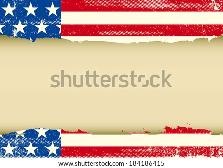 American Horizontal dirty frame. An american vintage flag with a texture and a large empty frame for your message - stock vector