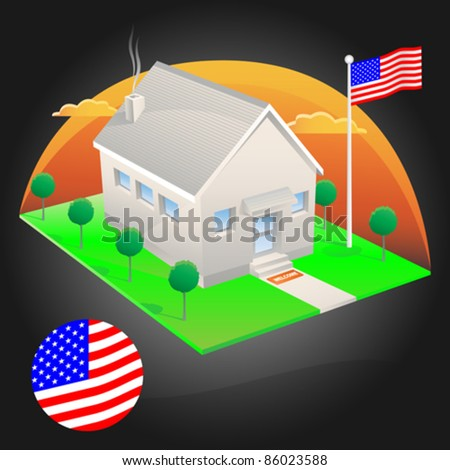 American house with flag