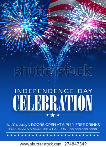 American Independence Day celebration beautiful invitation card with shiny fireworks on waving national flag background. - stock vector