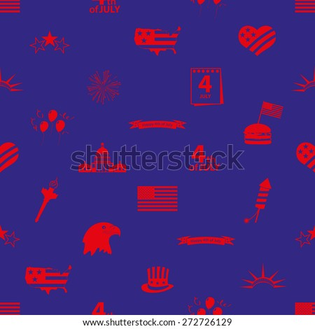 american independence day celebration icons seamless pattern eps10 - stock vector