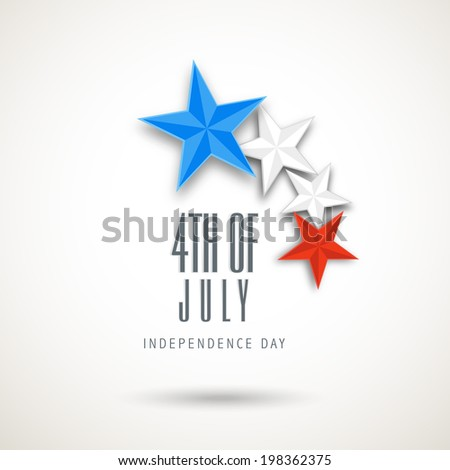 American Independence Day celebrations with stars in national flag colours on grey background.  - stock vector