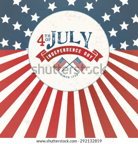 American Independence Day Greeting Card in Vintage Style - stock vector