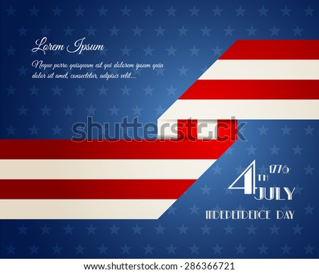 American Independence Day illustration, ribbon theme