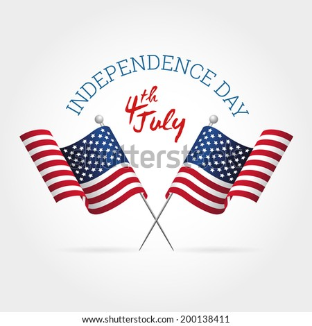 American Independence Day Sign with Flags and Lettering - stock vector