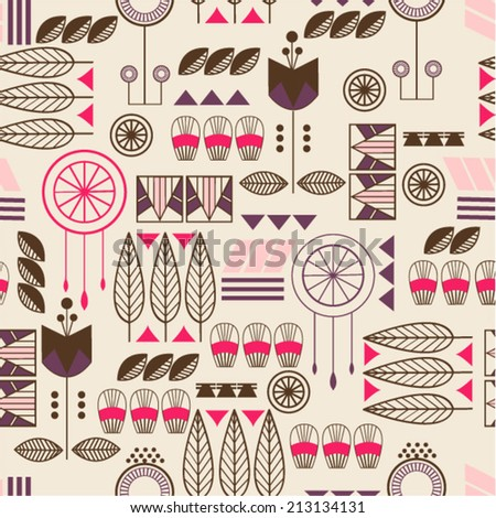 American Indian Aztec ethnic  seamless  background pattern. Seamless pattern can be used for wallpaper, pattern fills, web page background, surface textures - stock vector