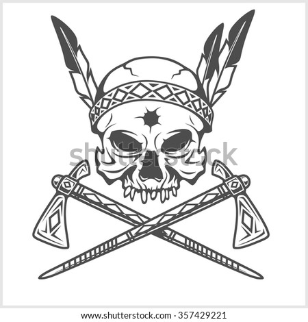 American Indian Chief Skull With Tomahawk isolated in white - stock vector