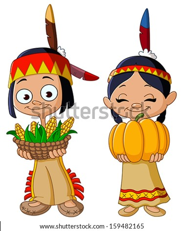 American Indian children sharing food for Thanksgiving - stock vector