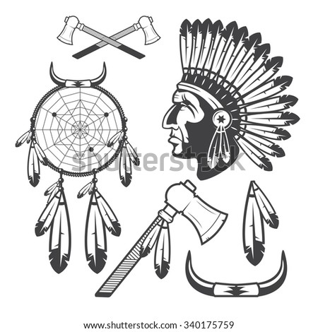 American Indian Clipart Icons and Elements, isolated on white background - stock vector