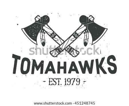 American indian emblem, label, badge, logo. Crossed tomahawks design