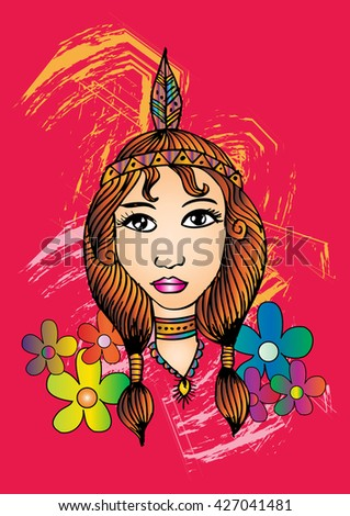 American Indian girl. Hand drawing illustration. - stock vector