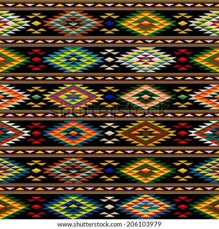 American Indian seamless pattern design in colors - stock vector