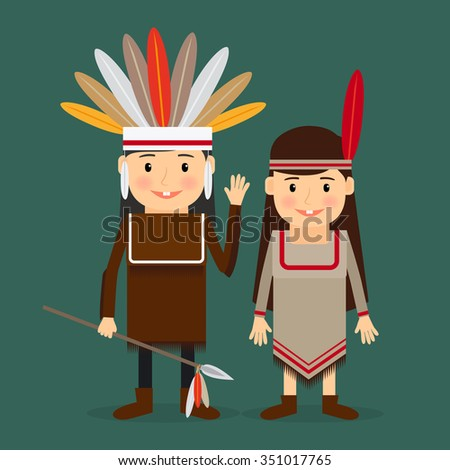 American indians children in national tribal costumes. Vector illustration.