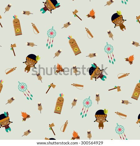 American indians clip art seamless pattern - stock vector