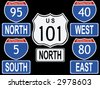American Interstate and Highway signs illustration - stock vector