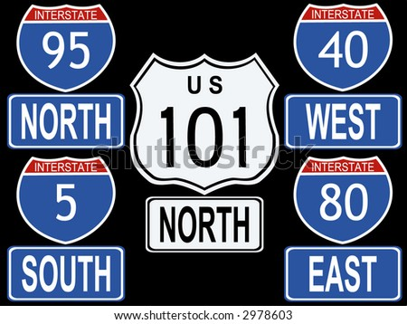 American Interstate and Highway signs illustration