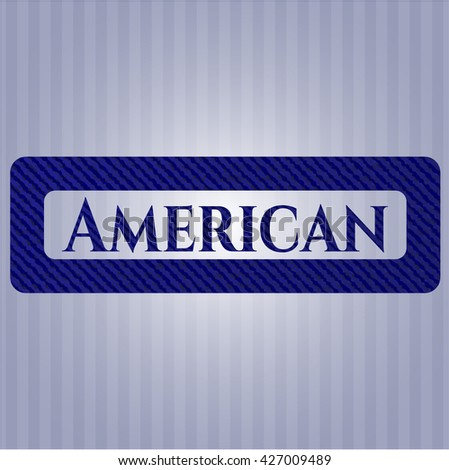 American jean or denim emblem or badge background - stock vector